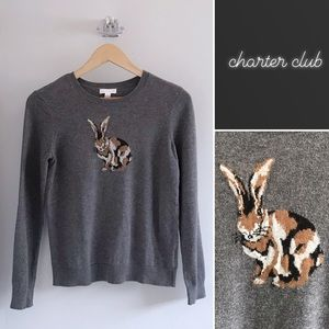 Charter Club Gray Camouflage Bunny Rabbit Sweater
